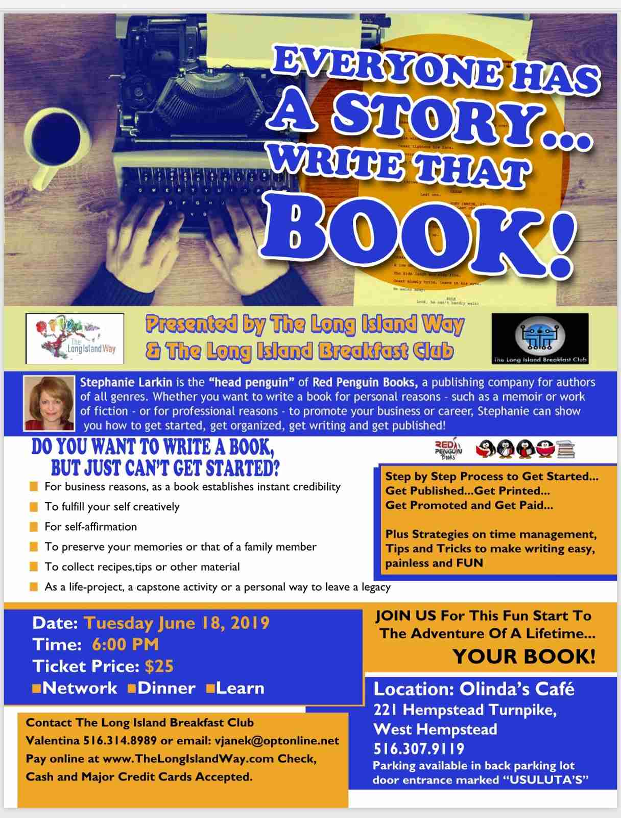 "Write That Book!"" Workshop on Tuesday, June 18 at 6pm – Red Penguin"